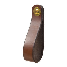 Leather Drawer Pull, The Hawthorne, Dark Brown, Large, Brass