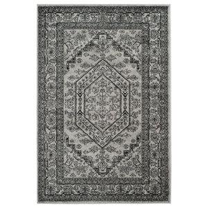 Odessa Floor Rug, Silver and Black, 120x180 cm