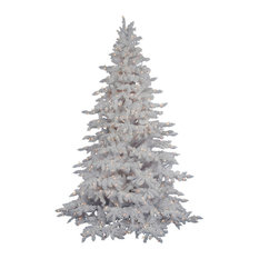 vickerman company flocked white spruce tree 45 frosted warm white led lights - Contemporary Christmas Tree