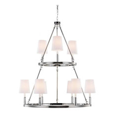 F2937/3+6 Lismore 9-Light Chandelier, Polished Nickel