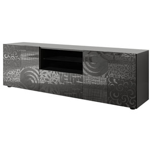 Miro Decorative TV Unit, 181 cm, Grey Gloss
