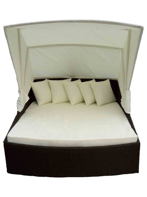 Outdoor Wicker Patio Furniture Canopy Day Beds   Barbados Canopy Bed |  Black Wic   Patio