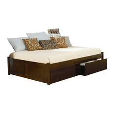 The Atlantic Furniture Concord Flat Panel Wood Daybed In Antique Walnut Daybeds