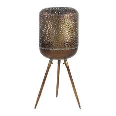 Modern Round Gold Metal Floor Lantern With Pierced Metal Pattern
