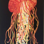 "My Island - Jellyfish Canvas in bright colors, 16x24"" - This jellyfish painting on canvas is sure to brighten your coastal or your mainland home!  It is so vibrant in shades of orange, red, and yellow and features a dramatic black background.  The size, 16 x 24"" is perfect for any space where a touch of the coast is needed.  You'll love that it is lightweight and easy to hang!  Painted by My Island artist, Gerri Hyman."