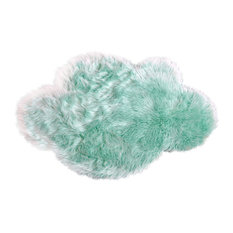 Machine Washable Faux Sheepskin Mint Cloud Area Rug