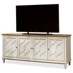 Zin Home - French Modern Light Wood 4 Door Media Console - Our French Modern Light Wood 4 Door Media Console draws inspiration from modern day Paris flea markets and architecture from mid-century modern Paris. This 4 door Entertainment Console provide smart and stylish organization for the living room. Crafted of solid hardwoods, hickory wood veneers and finished off white Canvas case, end panels, and door fronts with Bisque finished top. Featuring four doors with adjustable wood shelves and ventilation slots and grommet in back panel for wire management