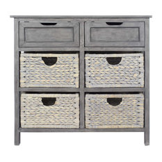 30-inchx13-inchx28-inch Gray Wood Mdf Water Hyacinth 2-Drawer 4-Basket Cabinet