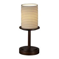 Limoges Dakota Table Lamp (Short), Cylinder With Flat Rim, Sawtooth Shade