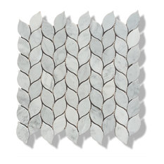 "12""x12"" Carrara Marble Leaves Polished Mosaic Tiles, Design 46"