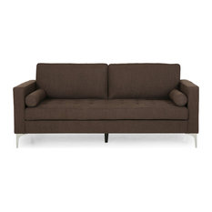 Limon Contemporary Tufted Fabric 3 Seater Sofa Brown/Silver