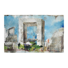Print Of Cityscape With Buildings And Blue Skies On Canvas Made Of Canvas/Wood