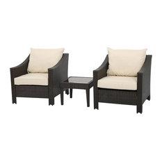 3-Piece Jones Outdoor Brown Wicker Bistro With Cushions Set