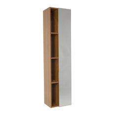 Fresca Black Bathroom Linen Side Cabinet With 4 Cubby Holes And Mirror, Teak