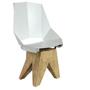 Angular Steel Stool With Long Backrest, White