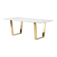Nuevoliving 79 Uber Modern Office Desk With White Marble Top Brushed Gold Stainless