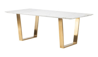 "79"" Uber Modern Office Desk with White Marble Top & Brushed Gold Stainless St..."