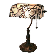 """Amora Lighting AM250TL10 Floral Banker Tiffany Style Table Lamp 13"""""""