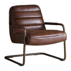 Soho Leather Lounge Chair, Matte Brown