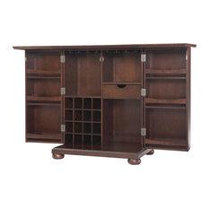 Crosley - Alexandria Expandable Bar Cabinet, Vintage Mahogany Finish - Wine and Bar Cabinets