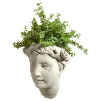 Vintage Goddess Cast Stone Wall Planter, Classic Natural