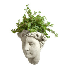 Modern Artisans - Vintage Goddess Cast Stone Wall Planter, Classic Natural - Outdoor Pots and Planters