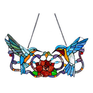 """12"""" Stained Glass Hummingbird Floral Window Panel, Blue"""