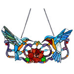 """River of Goods - River of Goods 12""""  Stained Glass Hummingbird Floral Window Panel - A charming picture! These adorable hummingbirds are sharing a sip of nectar as they flutter over a brilliant rose blossom. Their vibrant blue and yellow bodies contrast perfectly with the deep flower. This pieces is hand crafted from 162 glass cuts and 15 cabochons to bring an image of beauty and bliss. Glass Panels are a wonderful way to brighten up a room. Easily hang from a window and let the sun shine in!. Made of Glass and Metal it Measures 24L x 24W x 12H and Hanging Hardware is included"""