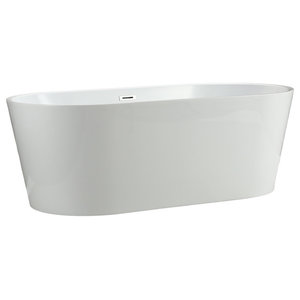 "Laguna Modern Freestanding Acrylic Bathtub, White, 67"""