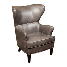 GDFStudio   Romford Bonded Leather Wingback Club Chair, Gray   Armchairs  And Accent Chairs