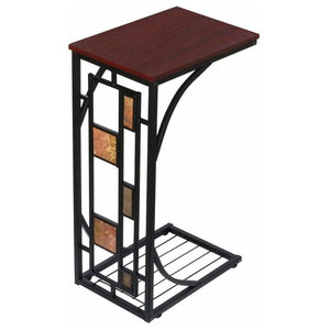Traditional End Table in Iron Frame and MDF Top with Antique C Shaped Design