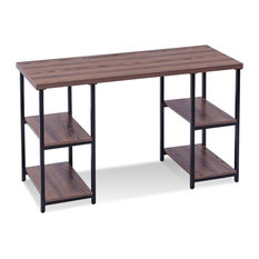 Modern Study Writing Computer Desk with 4 Storage Shelves