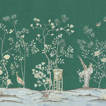 """Chinoiserie Wall Mural Chai Wan, Emerald, Full Size - Chinoiserie mural depicts large flowers and birds in shades of white and beige on Blue-Green background. No. of Panels 5 - PW (Panel Width) 36"""" - DH (Design Height) 72"""" - PH (Panel Height) 84"""". Printed on MuralPro wallpaper."""