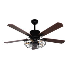 50 most popular industrial ceiling fans for 2018 houzz whoselamp 5 light industrial brown wood ceiling fan 52 ceiling fans aloadofball Choice Image
