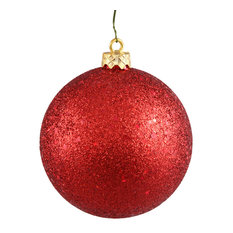 """4"""" Sequin Ball Drilled, Set of 6, Red"""