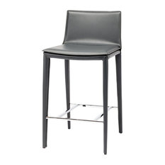 Palma Counter Stool, Grey Leather