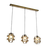 Industrial Oval Pendant Lamp 3 Weathered Bronze - Fence