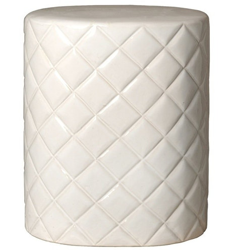 white ceramic quilted garden stool accent and garden stools