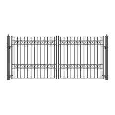 Aleko Driveway Gate, Iron Wrought Steel Oslo Style, 18'