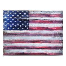 Icon American Flag Wall Art On Wood, 16 Inch