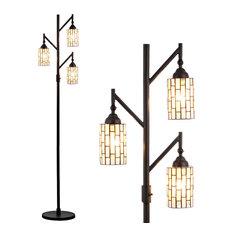"Lewis Tiffany-Style 71"" Multi-Light Floor Lamp, Bronze"