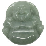 orientliving - Jade Pendant Light Green Sitting Happy Buddha, Laughing Buddha Figure - Hand-carved detail friendly laughing face Happy Buddha - Laughing Buddha statue, this Buddha statue is carved with solid natural untreated jade. Chinese people believe Happy Buddha will bring you good luck, with his happy smiling face he is also a good Feng Shui statue for any room.