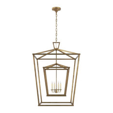 Visual Comfort Lighting Darlana Extra Large Double Cage Lantern, Gilded Iron