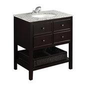 "Burnaby Contemporary Bath Vanity, Espresso With Dappled Gray Granite Top, 30"""