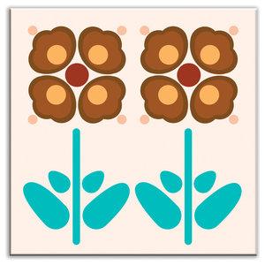 "4.25""x4.25"" Folksy Love Glossy Decorative Tile, Pressed Flowers Peach"