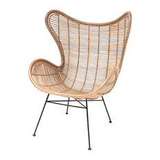 Rattan Egg Wing Chair, Natural Rattan