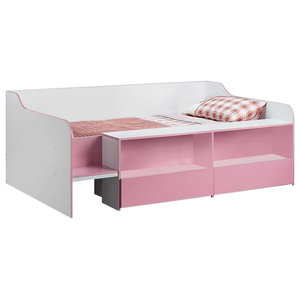 Modern Single Low Sleeper Bed, Particle Board With 2 Pull-Out Storage Drawers