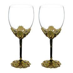 Fairytale inspired Wine Glass w/ Metal Stem Decorated w/ Aqua Crystals Gift Set