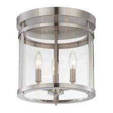 we got lites three light satin nickel clear glass drum shade semiflush mount