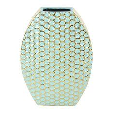 "Modern Ceramic Honeycomb Vase, 16"""